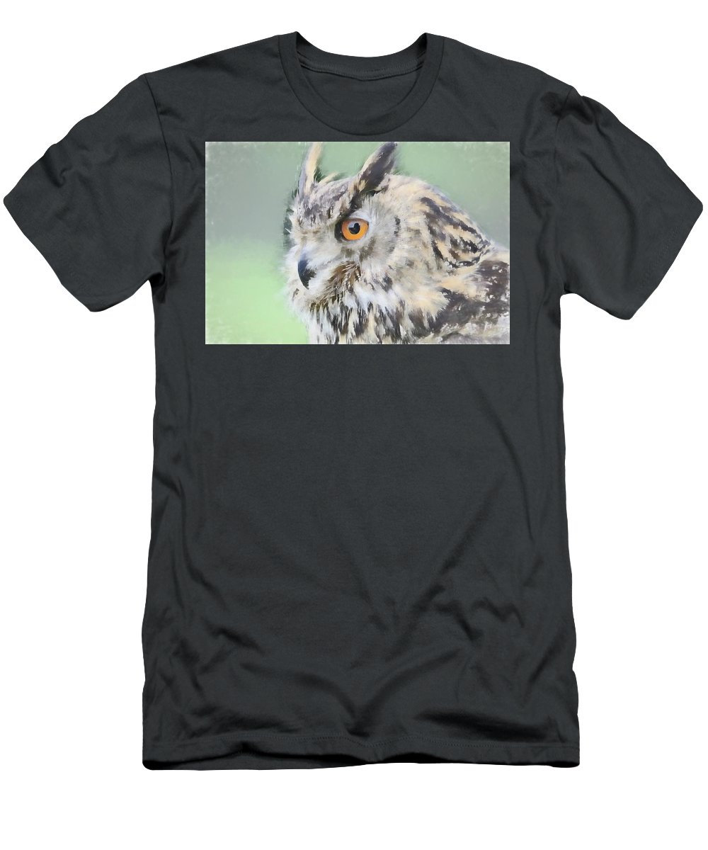 Abstract Art Men's T-Shirt (Athletic Fit) featuring the photograph Eurasian Eagle Owl by Robert Kinser
