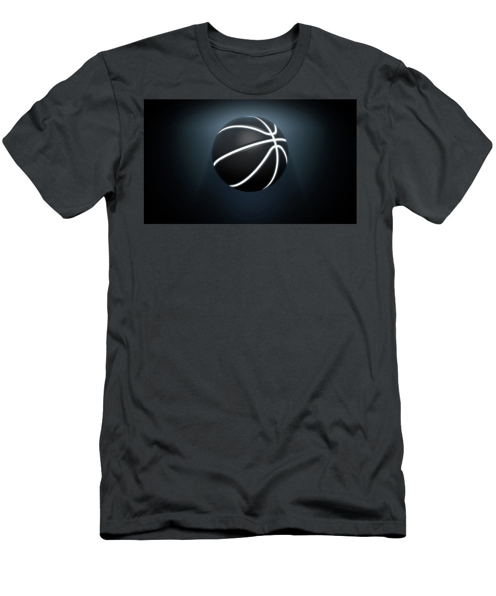 Basketball Men's T-Shirt (Athletic Fit) featuring the digital art Futuristic Neon Sports Ball by Allan Swart