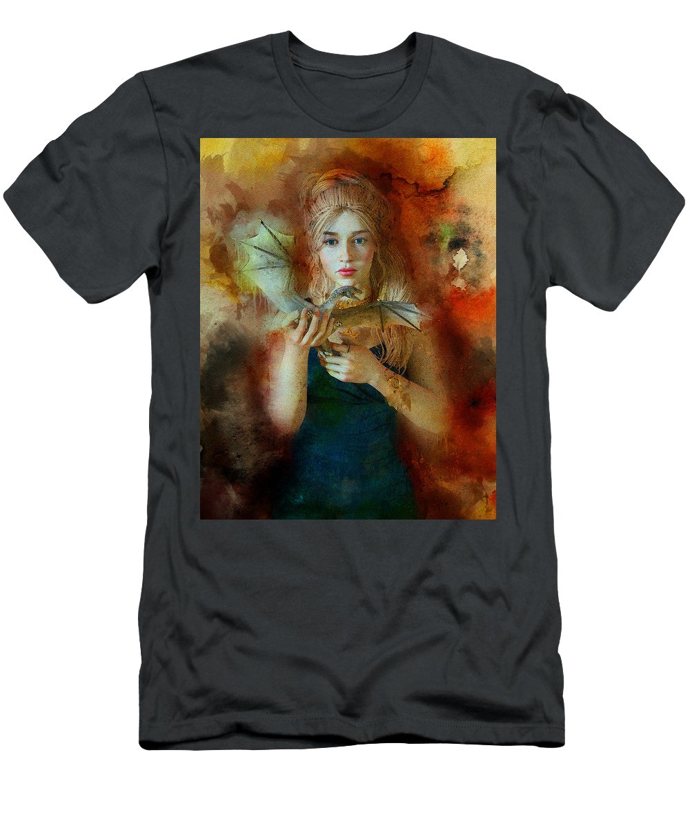 Game Of Thrones Men's T-Shirt (Athletic Fit) featuring the digital art Game Of Thrones. Daenerys. Mother Of The Dragons. by Nadezhda Zhuravleva
