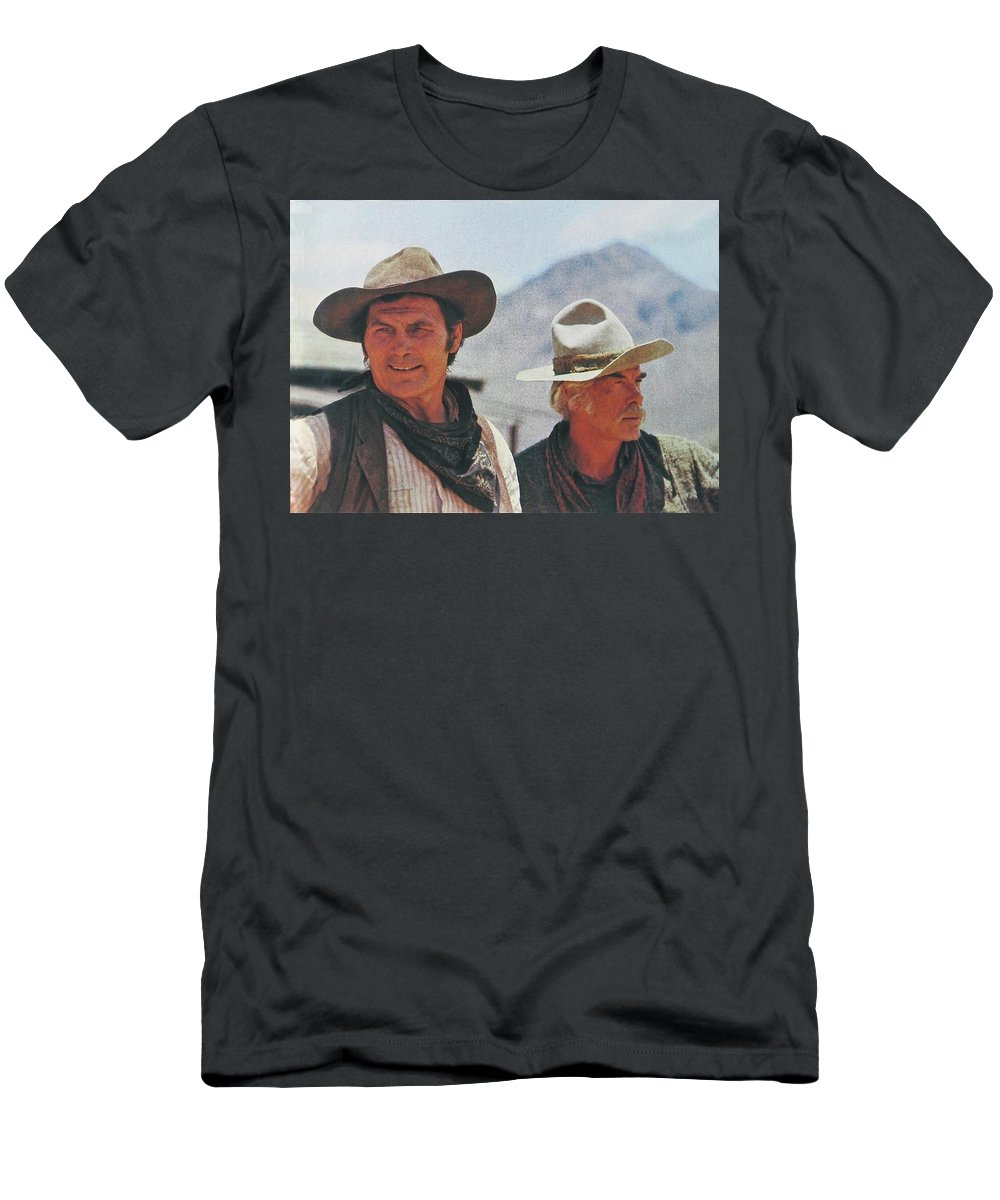 Jack Palance And Lee Marvin Monte Walsh Set Old Tucson Arizona 1969 Men's T-Shirt (Athletic Fit) featuring the photograph Jack Palance And Lee Marvin Monte Walsh Set Old Tucson Arizona 1969 by David Lee Guss