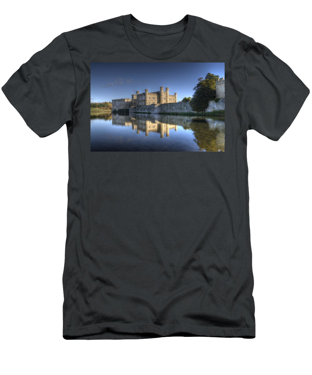 Leeds Castle Men's T-Shirt (Athletic Fit) featuring the photograph Leeds Castle Reflections by Chris Thaxter