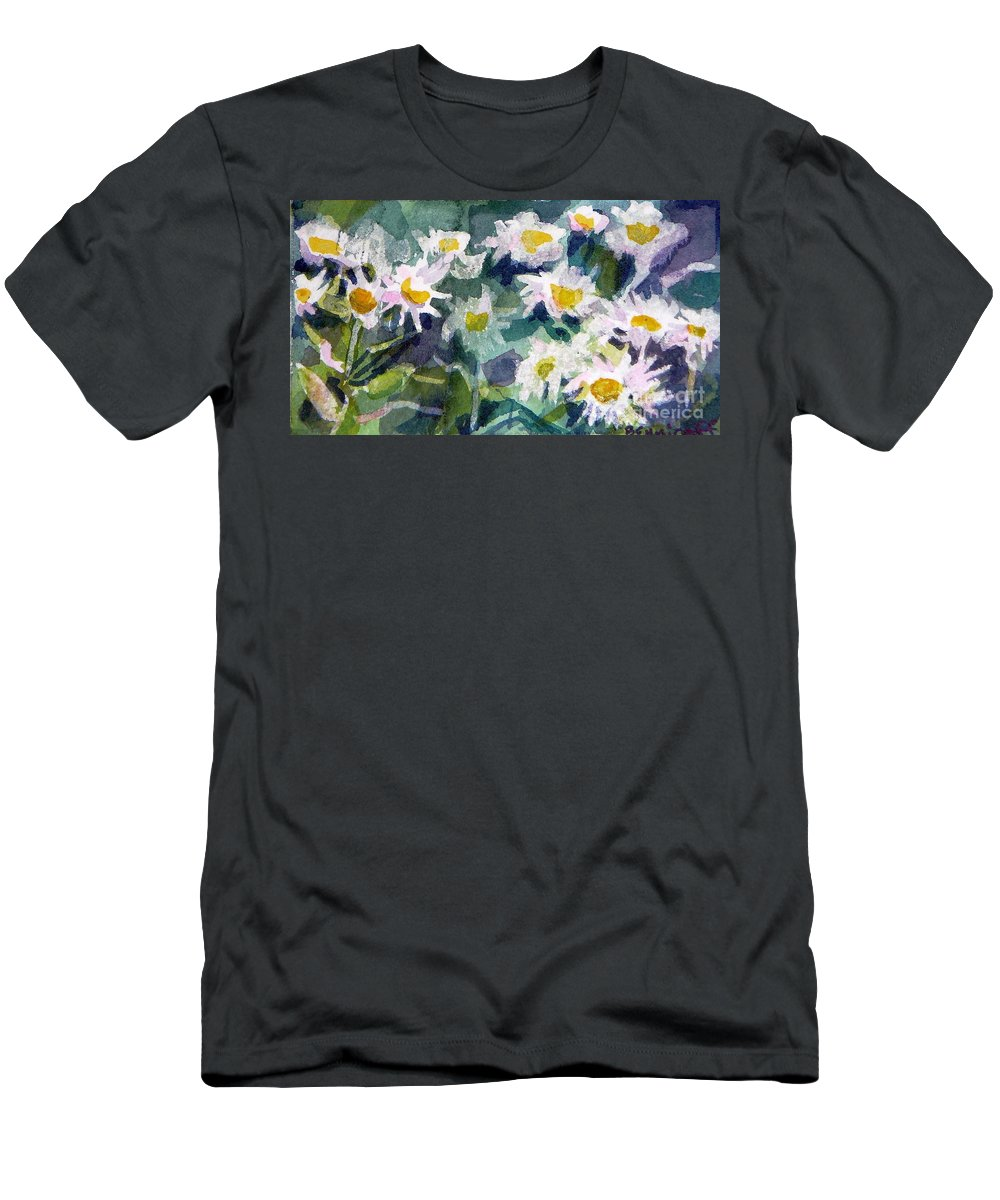 Flowers Men's T-Shirt (Athletic Fit) featuring the painting Little Asters by Jan Bennicoff