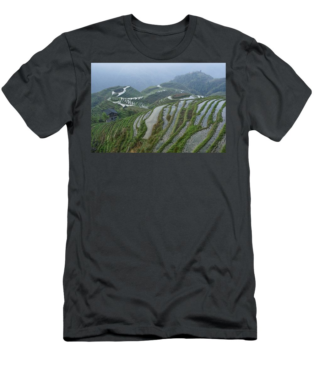 Asia Men's T-Shirt (Athletic Fit) featuring the photograph Longsheng Rice Terraces by Michele Burgess