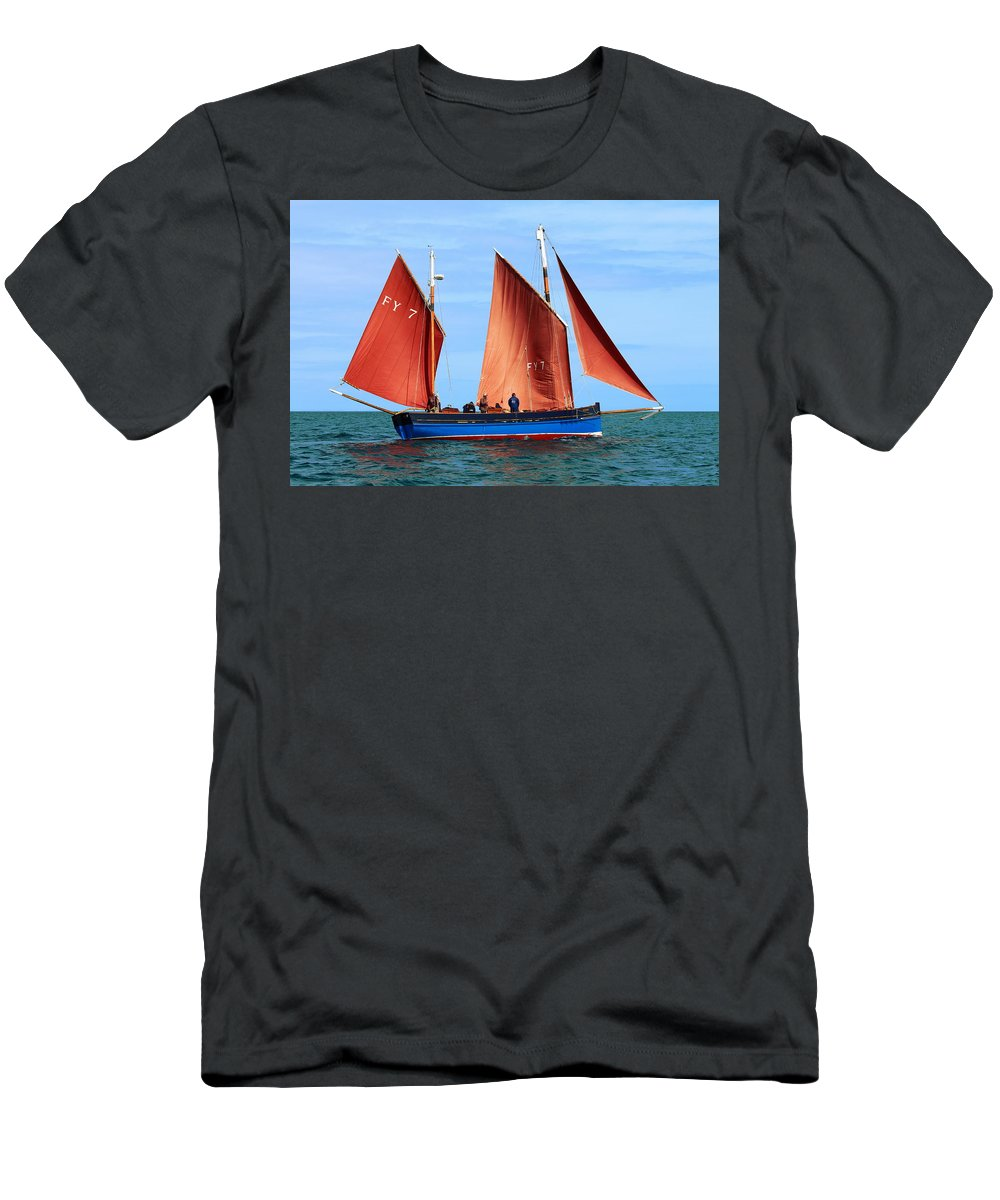 Looe Lugger Men's T-Shirt (Athletic Fit) featuring the photograph Looe Lugger 'our Daddy' by Tom Wade-West