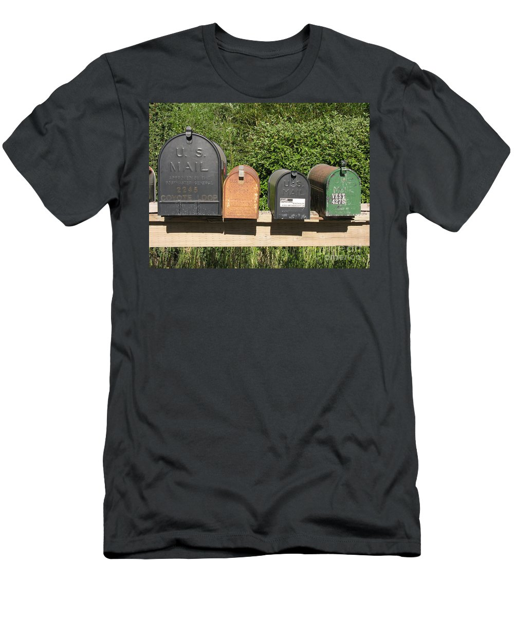 Mail Men's T-Shirt (Athletic Fit) featuring the photograph Mail Boxes by Diane Greco-Lesser