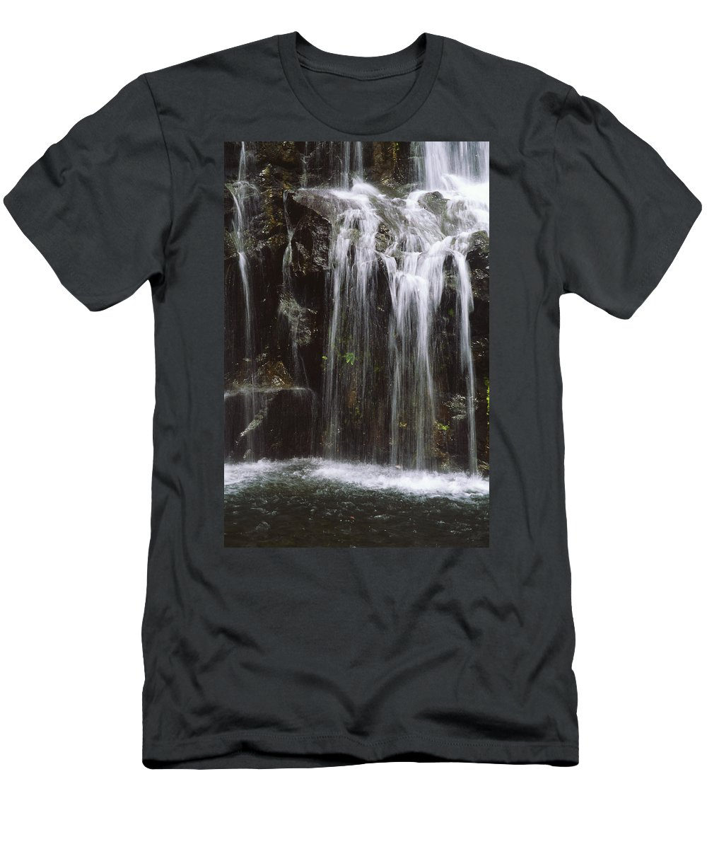 Beautiful Men's T-Shirt (Athletic Fit) featuring the photograph Maui Waterfall by Himani - Printscapes