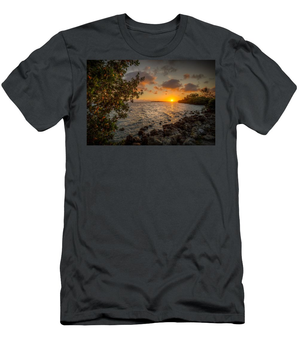 Sunrise Men's T-Shirt (Athletic Fit) featuring the photograph Morning At The Mangroves by Ronald Kotinsky