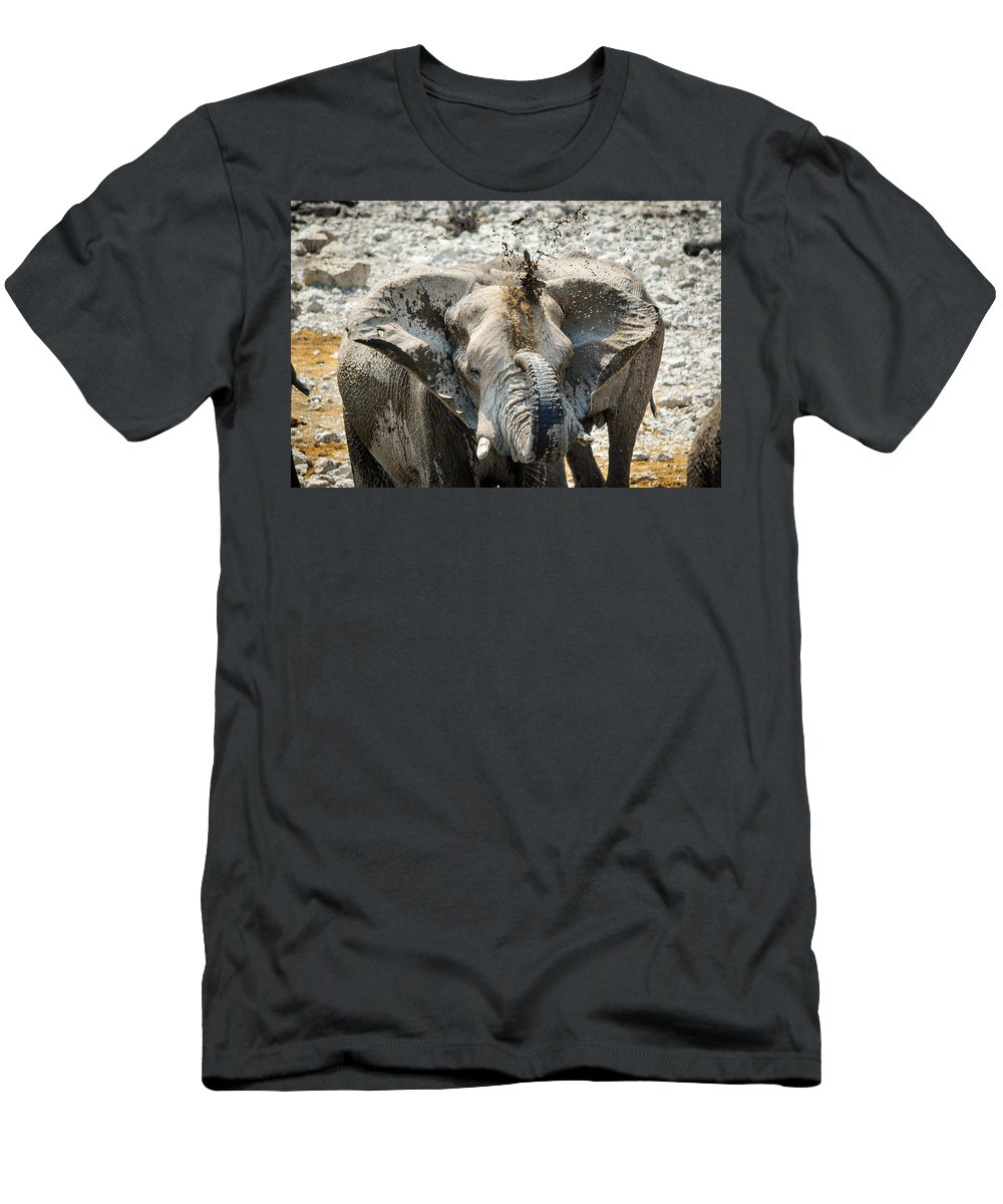 Elephant Men's T-Shirt (Athletic Fit) featuring the photograph Mud Bath by Mari van Bosch