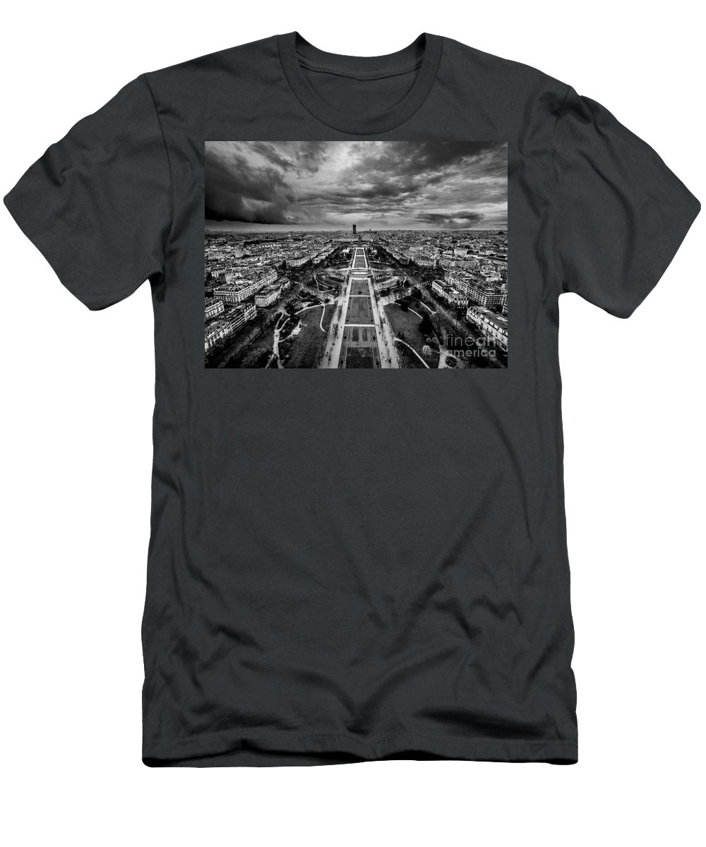 Champ De Mars Men's T-Shirt (Athletic Fit) featuring the photograph Paris Panorama by Bailey Cooper Photography