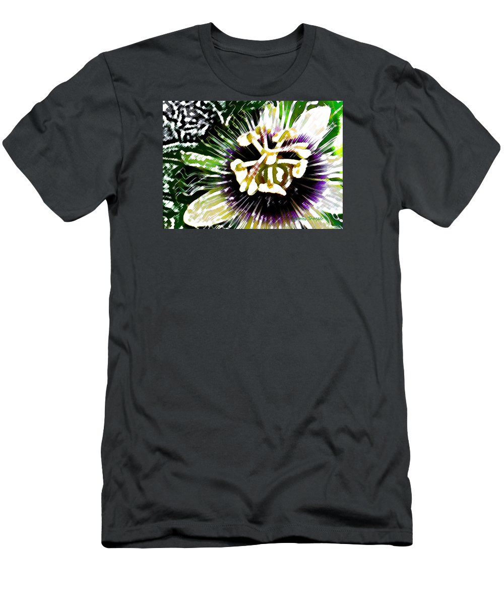 Passion Fruit Flower T-Shirt featuring the digital art Passion Flower by James Temple