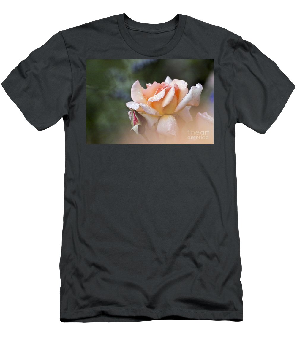 Rose Men's T-Shirt (Athletic Fit) featuring the photograph Pink Rose by Heiko Koehrer-Wagner