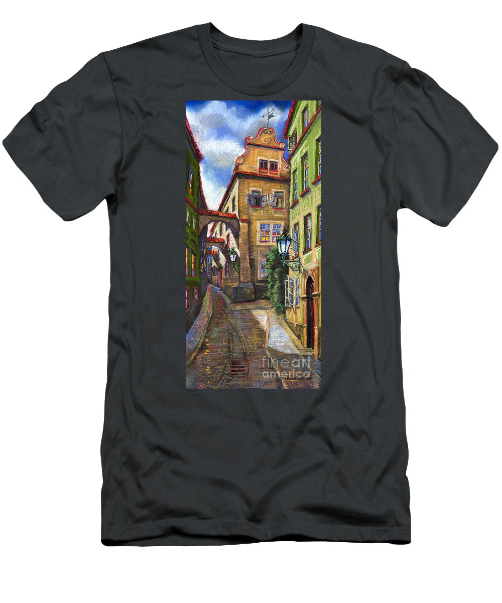 Prague Men's T-Shirt (Athletic Fit) featuring the painting Prague Old Street by Yuriy Shevchuk