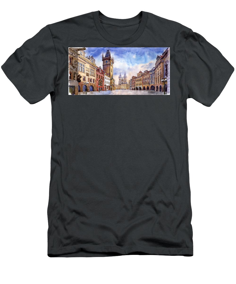 Watercolour T-Shirt featuring the painting Prague Old Town Square by Yuriy Shevchuk