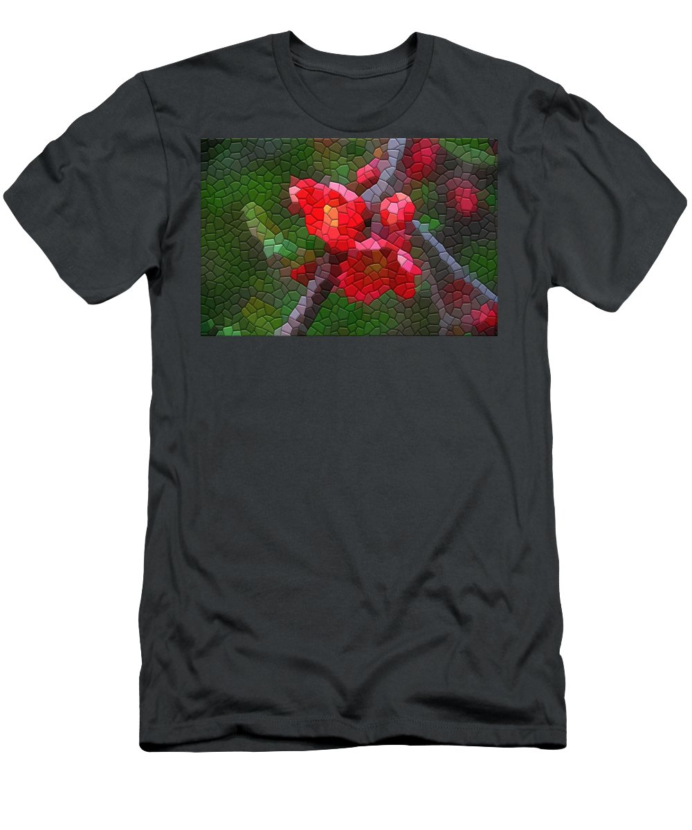 Quince Men's T-Shirt (Athletic Fit) featuring the photograph Red Quince by Kathryn Meyer