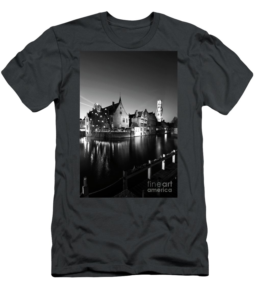 Rozenhoedkaai Area Men's T-Shirt (Athletic Fit) featuring the photograph River Dijver And The Belfort At Night, Rozenhoedkaai, Bruges by Dave Porter