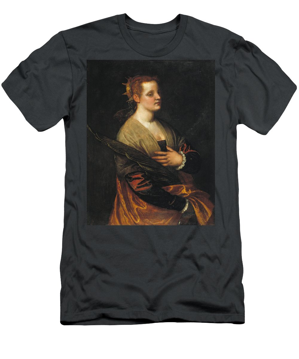 Catherine Men's T-Shirt (Athletic Fit) featuring the painting Saint Catherine by Paolo Veronese