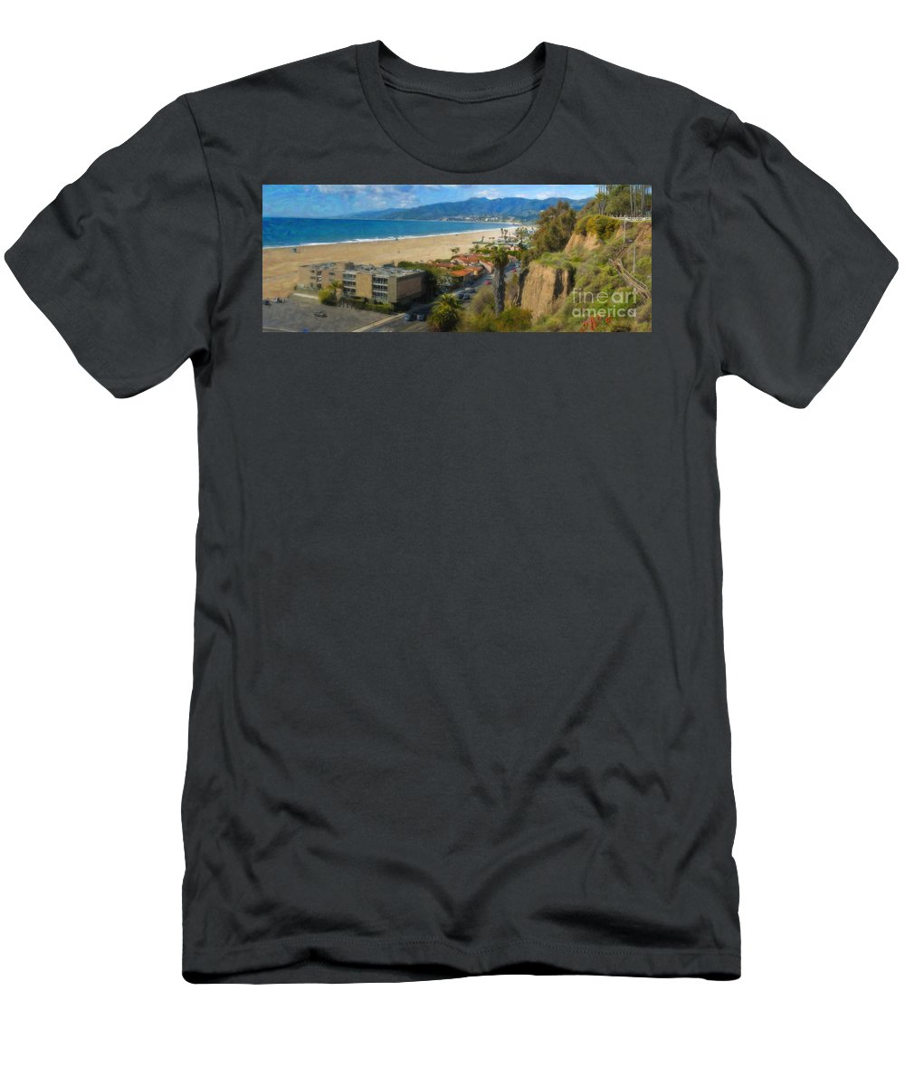 Santa Monica Ca Steps Palisades Park Bluffs Men's T-Shirt (Athletic Fit) featuring the photograph Santa Monica Ca Steps Palisades Park Bluffs by David Zanzinger