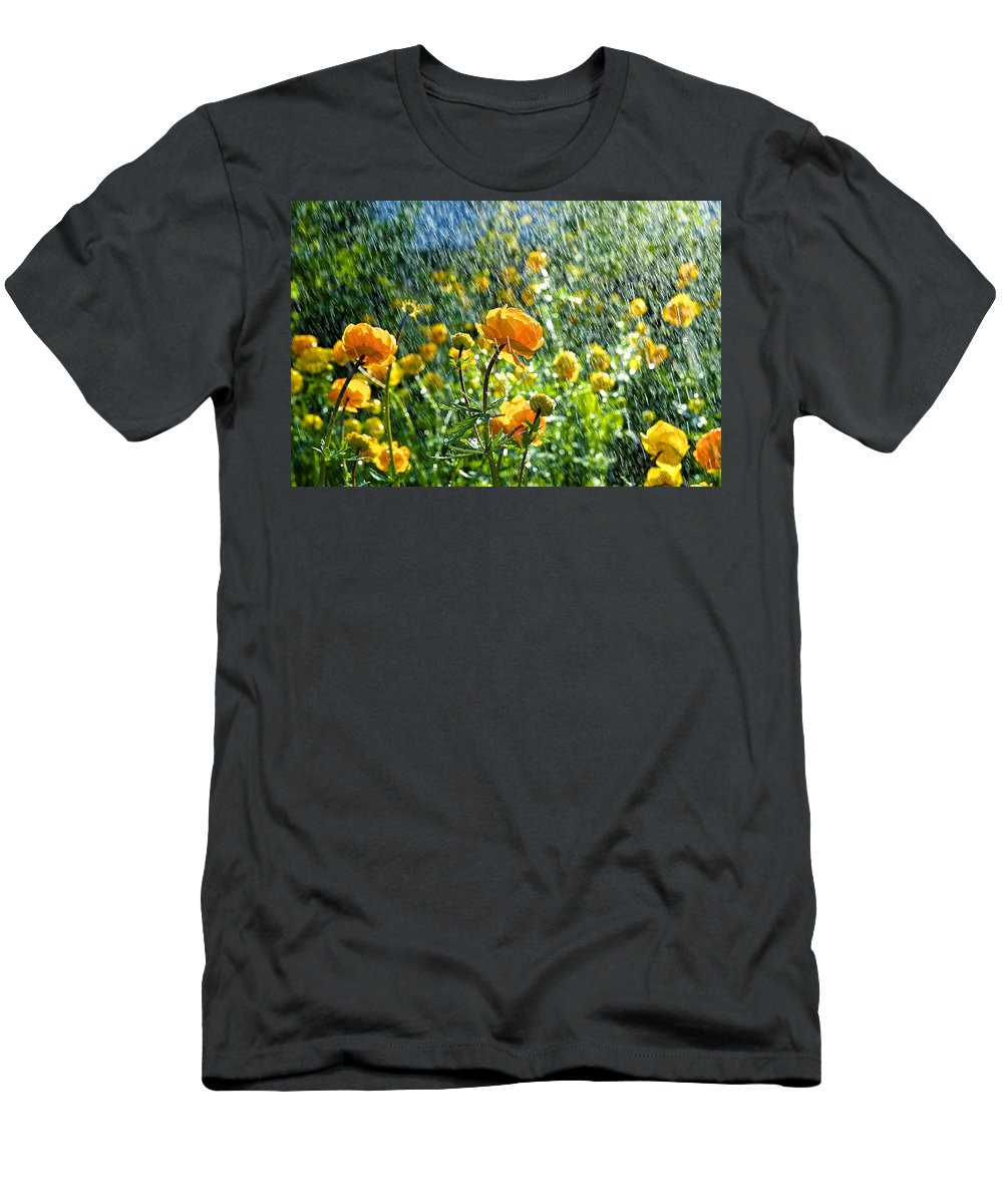 Spring Flowers In The Rain By Tamara Sushko Men's T-Shirt (Athletic Fit) featuring the photograph Spring Flowers In The Rain by Tamara Sushko