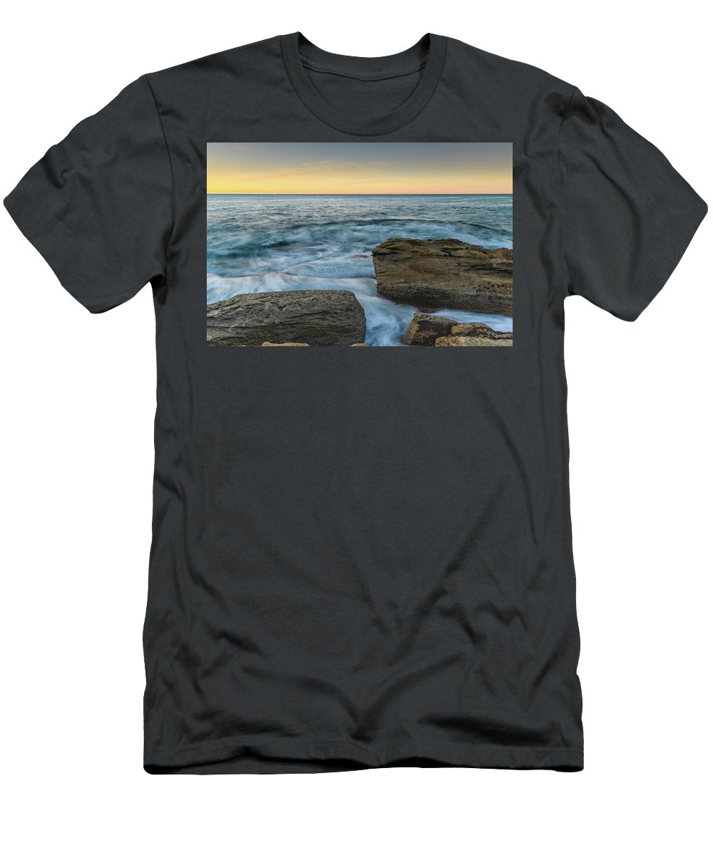 Australia Men's T-Shirt (Athletic Fit) featuring the photograph Sunrise On The Rocky Coast by Merrillie Redden