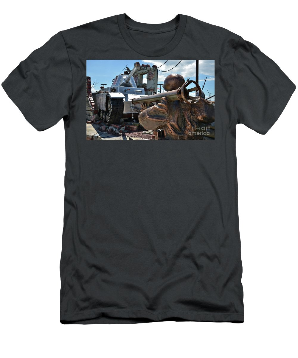 Military Men's T-Shirt (Athletic Fit) featuring the photograph Taking Aim by Eve Forrest