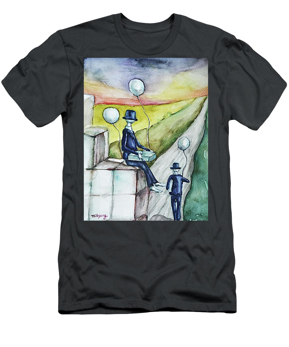 Water Men's T-Shirt (Athletic Fit) featuring the painting Waiting by Mikyong Rodgers