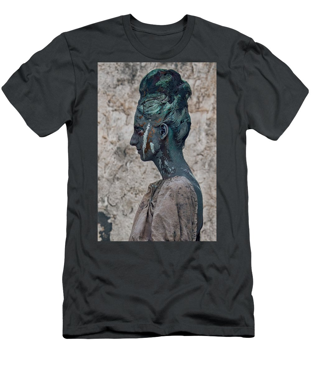 Antik Men's T-Shirt (Athletic Fit) featuring the photograph Woman In Bronze Statue Look With Patina Body Paint by Veronica Azaryan