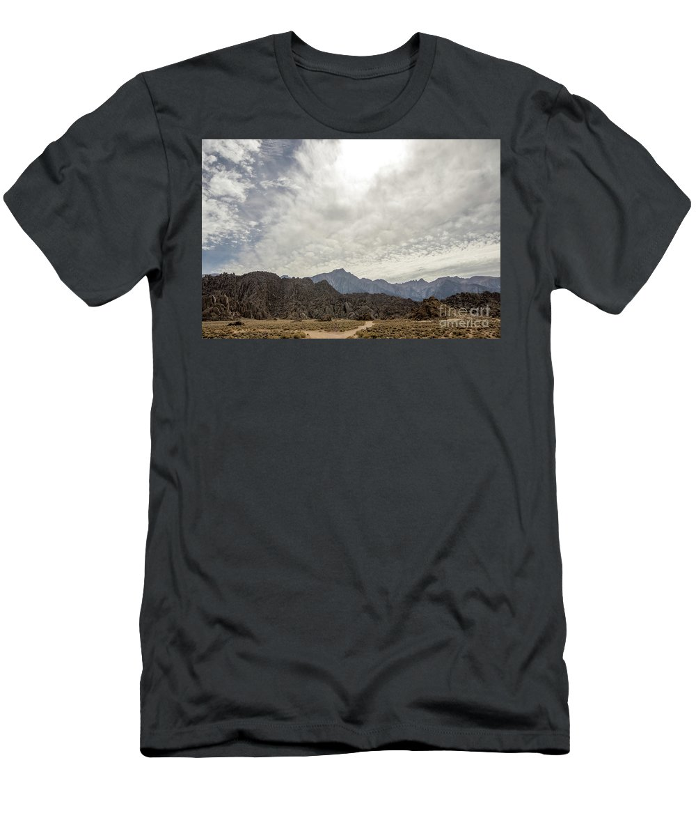 395 Men's T-Shirt (Athletic Fit) featuring the photograph Rocks, Mountains And Sky At Alabama Hills, The Mobius Arch Loop by Eiko Tsuchiya