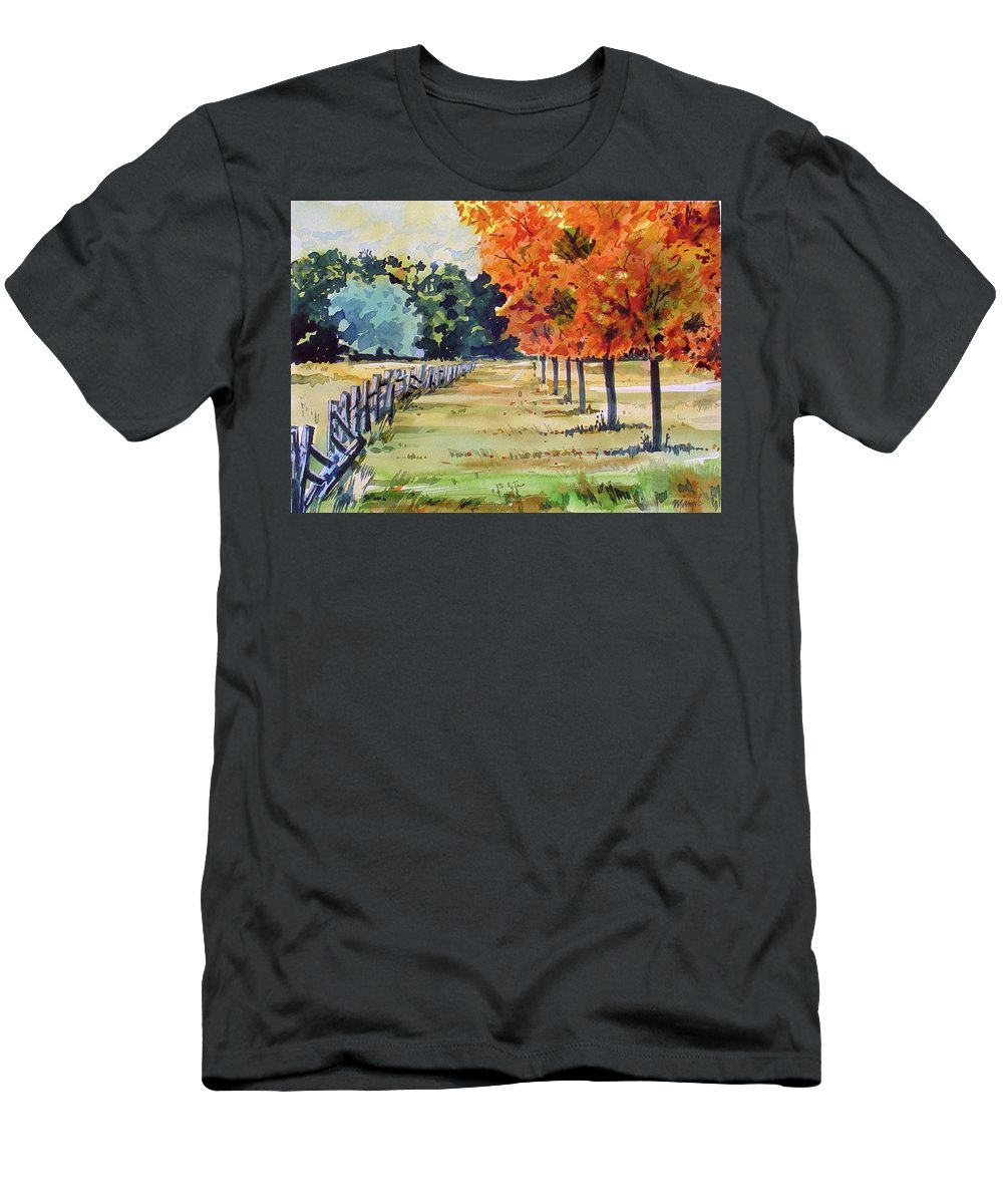 Colorado Landscape Men's T-Shirt (Athletic Fit) featuring the painting Watercolor by Ugljesa Janjic