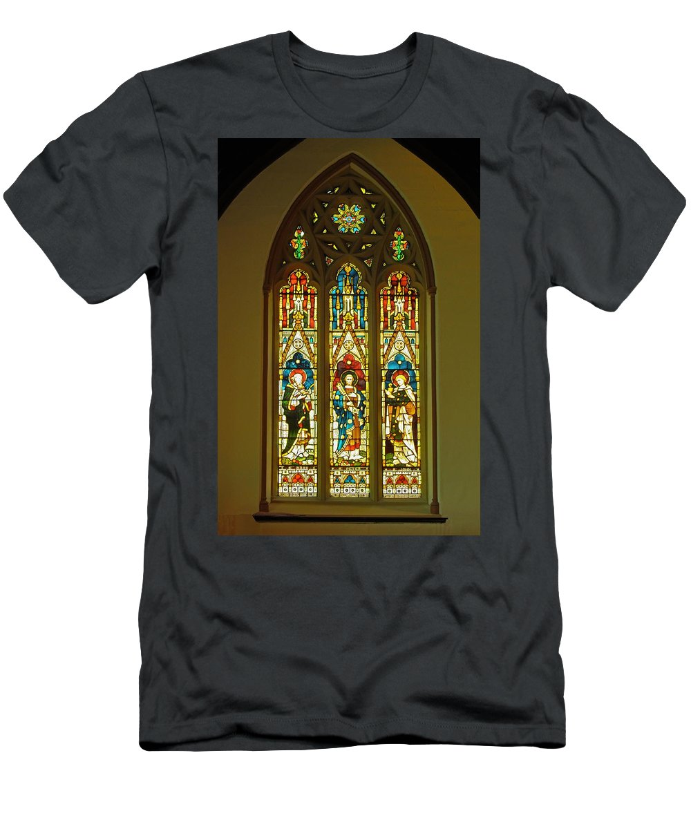 Christ Church Cathedral Fredericton Men's T-Shirt (Athletic Fit) featuring the photograph 3 Apostles South Stained Glass Window Christ Church Cathedral 1 by Mark Sellers