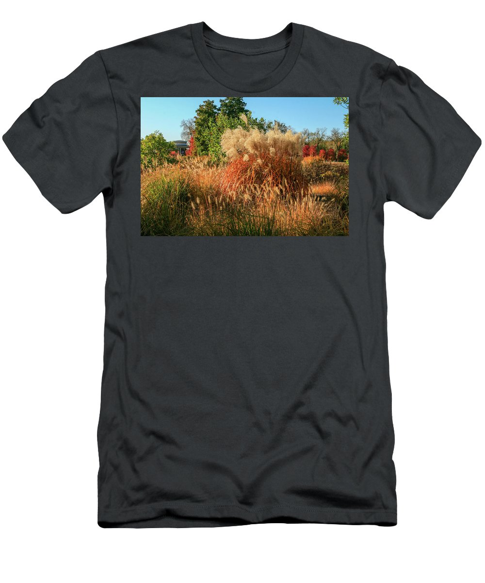 Forest Park Men's T-Shirt (Athletic Fit) featuring the photograph Autumn In Forest Park St Louis Missouri by Garry McMichael