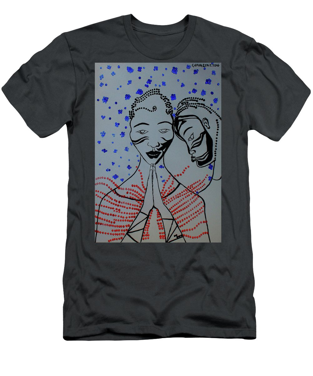 Jesus Men's T-Shirt (Athletic Fit) featuring the painting Dinka Marriage South Sudan by Gloria Ssali