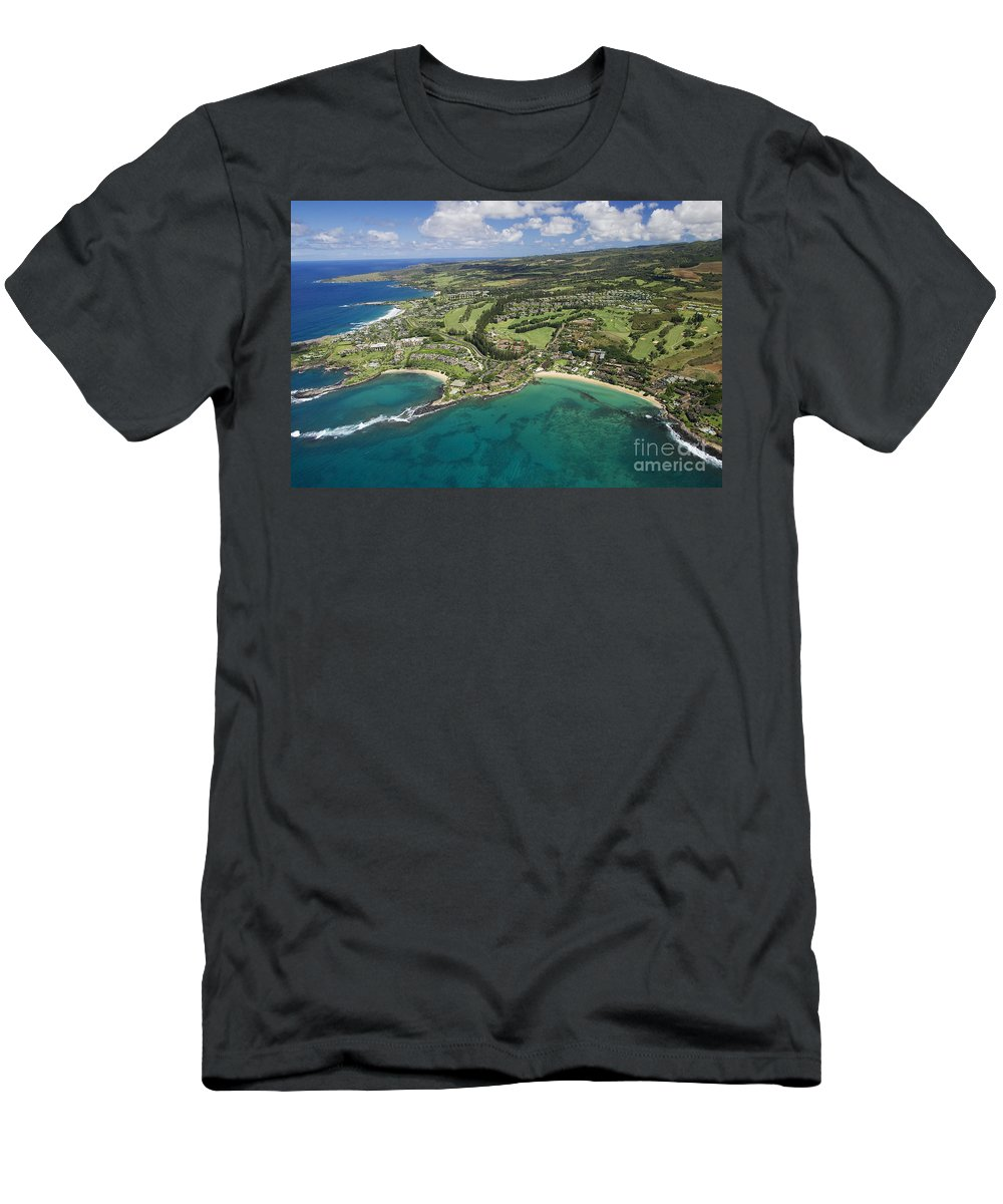 Above Men's T-Shirt (Athletic Fit) featuring the photograph Maui Aerial Of Kapalua by Ron Dahlquist - Printscapes