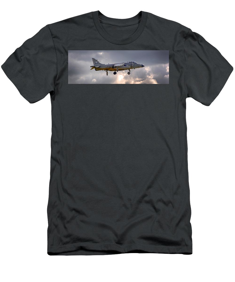 Royal Navy Men's T-Shirt (Athletic Fit) featuring the photograph Royal Navy Sea Harrier by Chris Smith