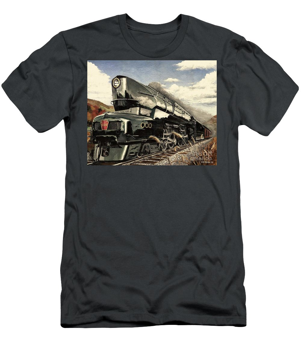 Pennsylvania Railroad T-Shirt featuring the painting Showin Off by David Mittner