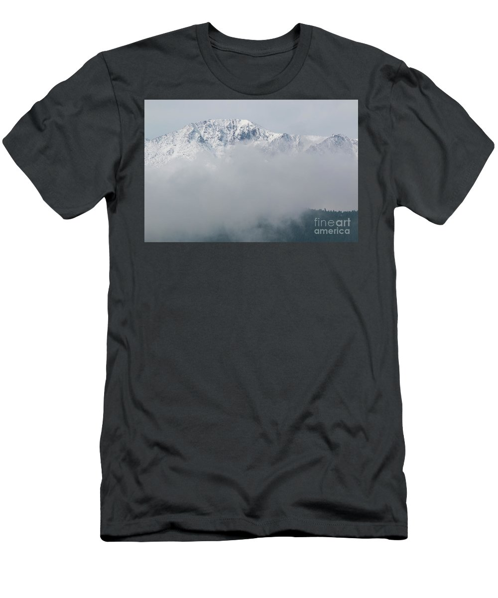 Pikes Peak Men's T-Shirt (Athletic Fit) featuring the photograph Stormy Pikes Peak by Steve Krull