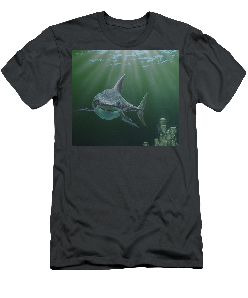 Shark T-Shirt featuring the painting Untitled 3 by Philip Fleischer