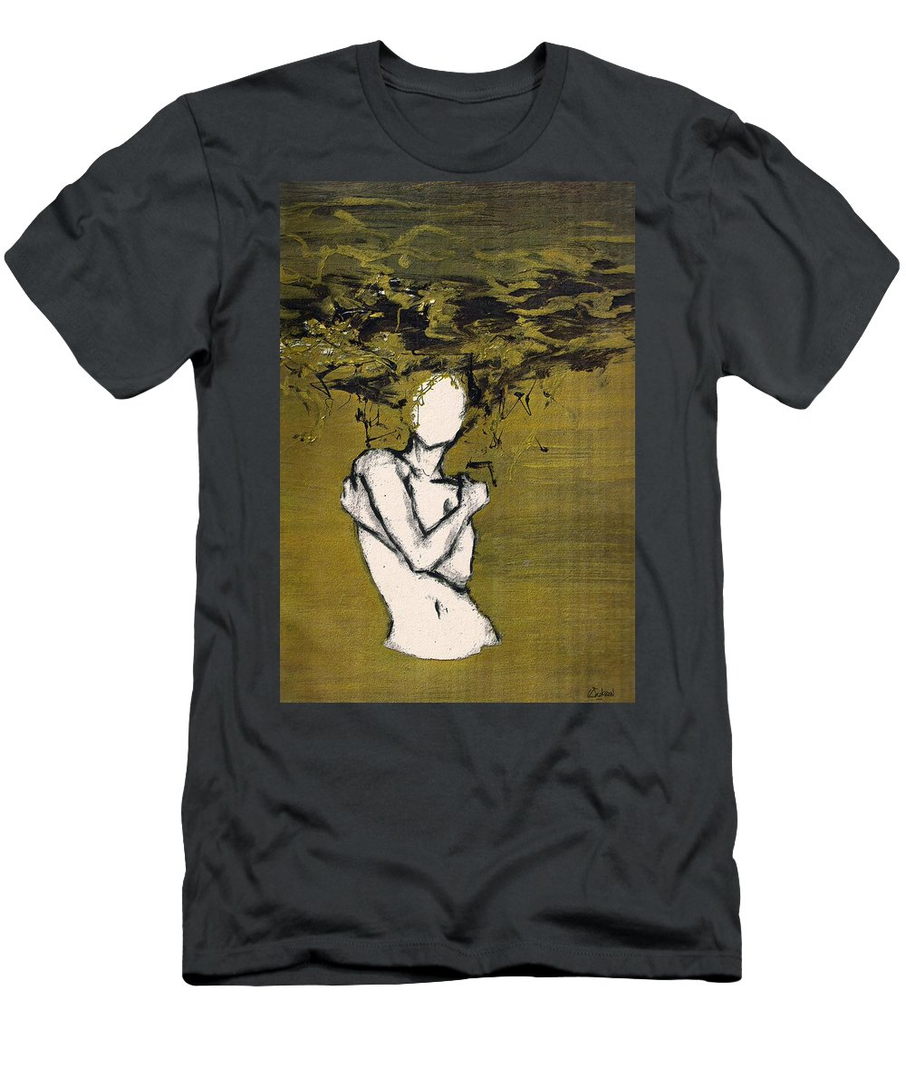 Gold Woman Hair Bath Nude T-Shirt featuring the mixed media Untitled 3 by Veronica Jackson