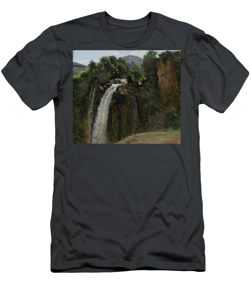 Waterfall At Terni Men's T-Shirt (Athletic Fit) featuring the painting Waterfall At Terni by Camille Corot