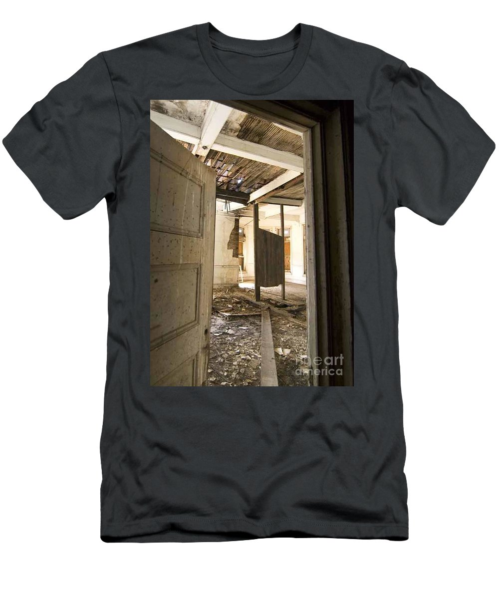 Preston Castle Men's T-Shirt (Athletic Fit) featuring the photograph 3rd Floor Door And Ruined Room by Norman Andrus