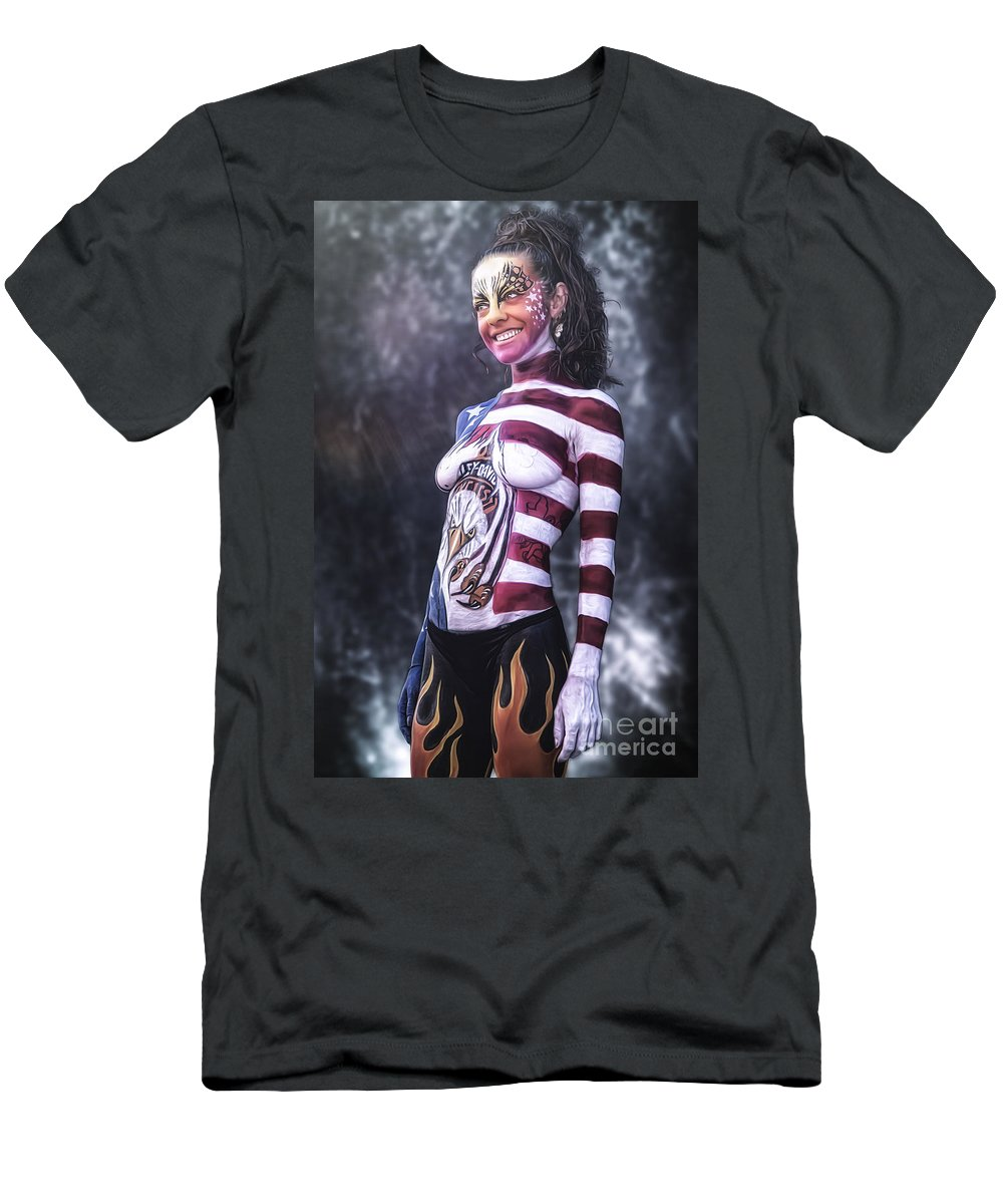 Body Painting Men's T-Shirt (Athletic Fit) featuring the photograph ..... by Traven Milovich