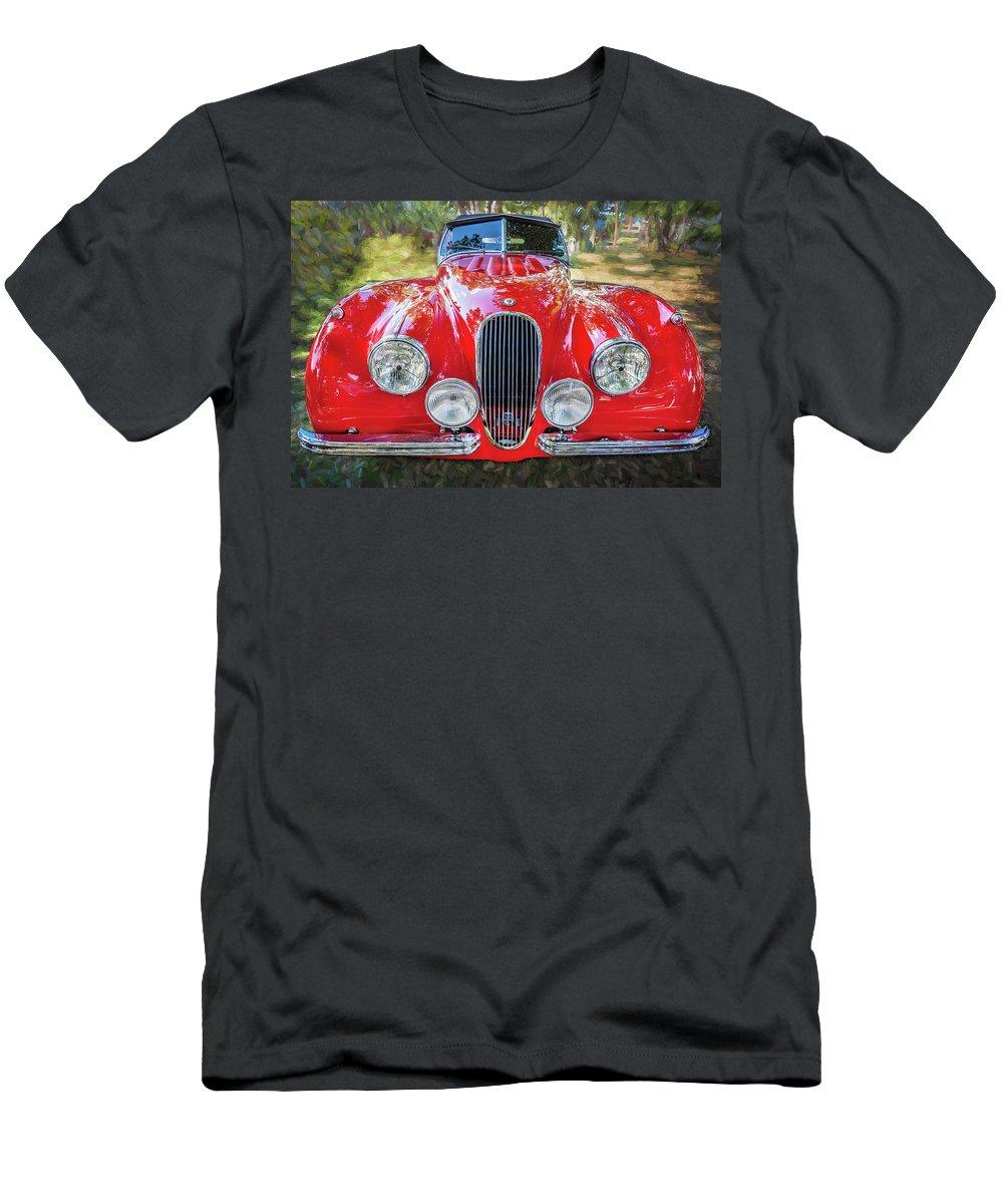 1954 Jaguar Men's T-Shirt (Athletic Fit) featuring the photograph 1954 Jaguar Xk 120 Se Ots by Rich Franco