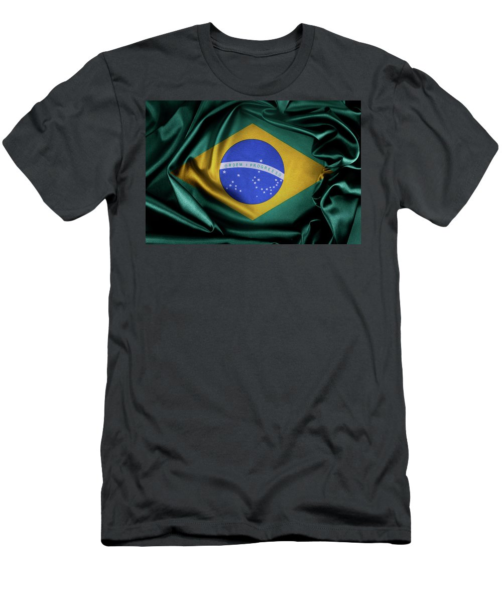 Banner Men's T-Shirt (Athletic Fit) featuring the photograph Brazil Flag by Les Cunliffe