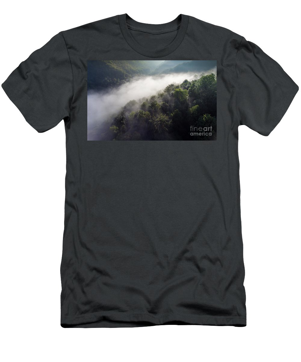 Above Men's T-Shirt (Athletic Fit) featuring the photograph Fantastic Dreamy Sunrise On Foggy Mountains by Mariusz Prusaczyk