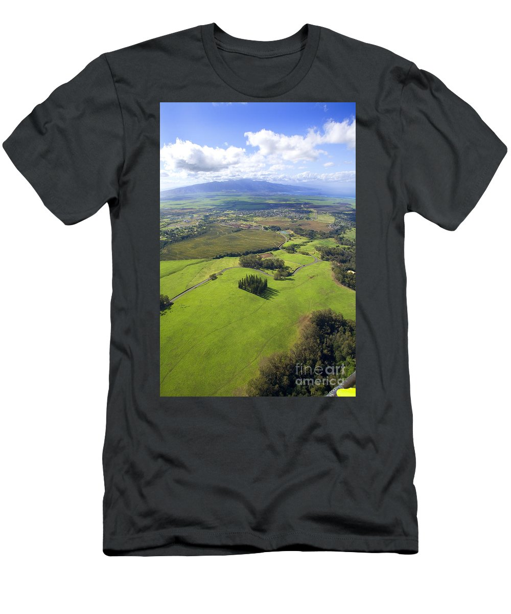 Aerial Men's T-Shirt (Athletic Fit) featuring the photograph Maui Aerial by Ron Dahlquist - Printscapes