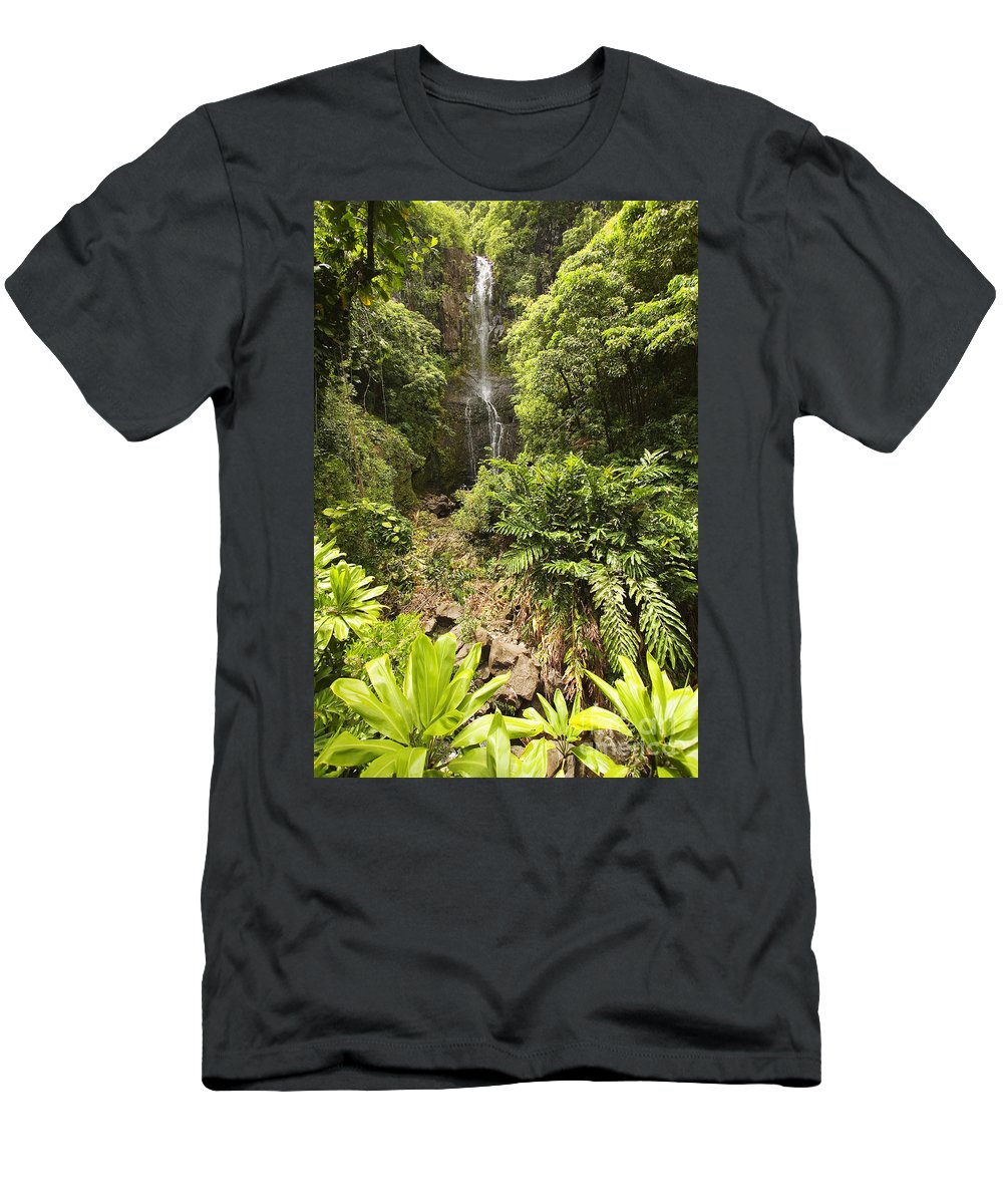 Beautiful Men's T-Shirt (Athletic Fit) featuring the photograph Wailua Falls by Ron Dahlquist - Printscapes