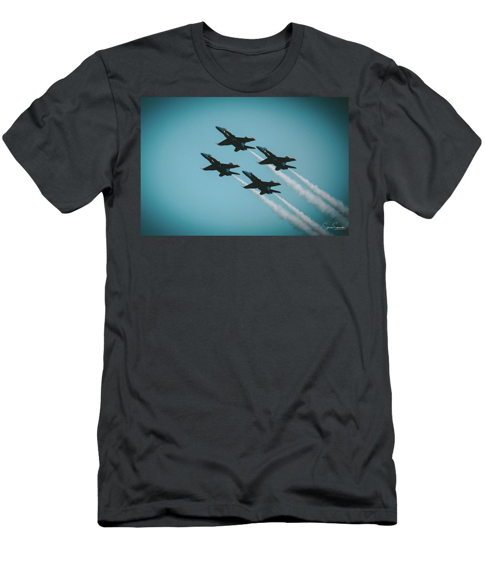 Blue Angels Fleet Week Sf 2017 Men's T-Shirt (Athletic Fit) featuring the photograph 4 X4 Angels by Shaun Samuels
