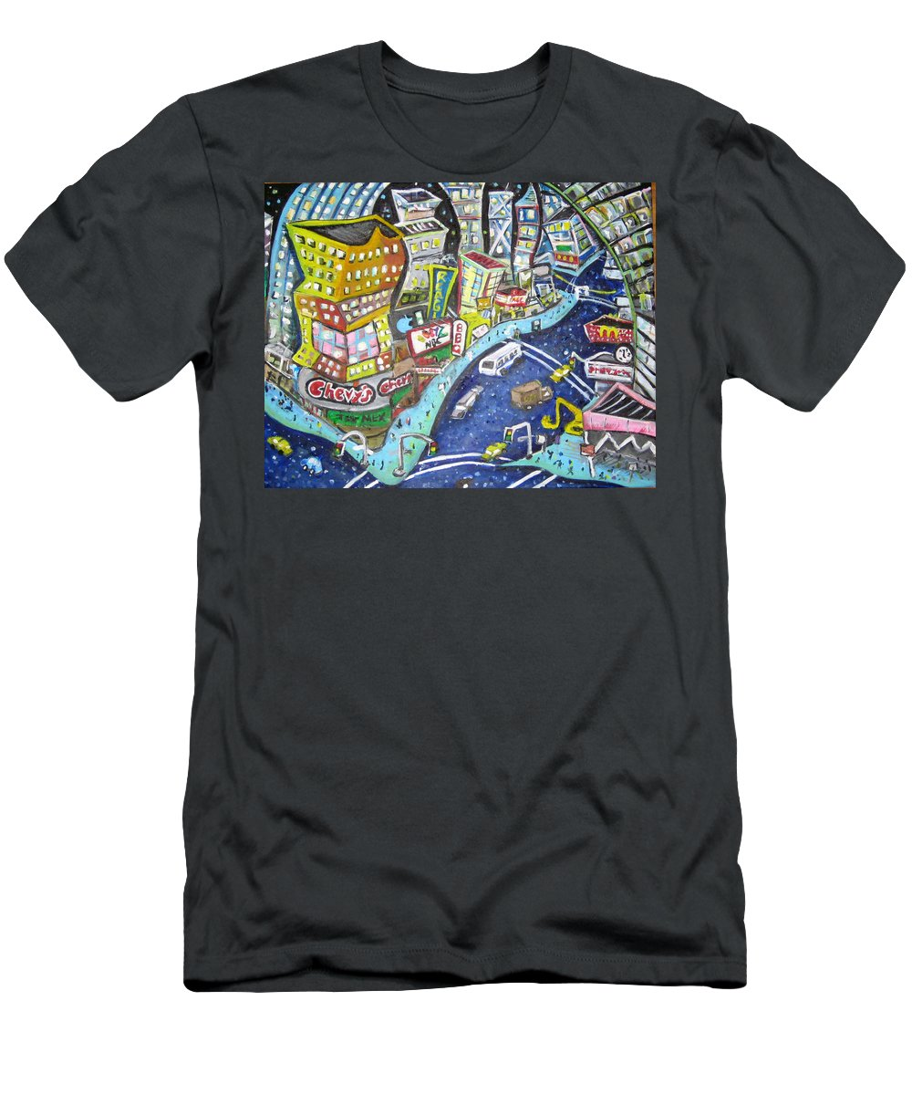 Times Square Men's T-Shirt (Athletic Fit) featuring the painting 42nd And 8th Street by Jason Gluskin