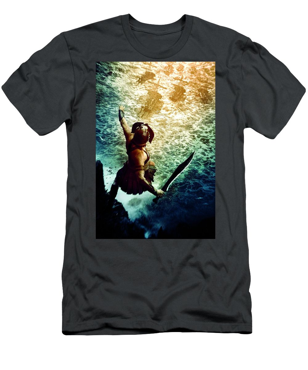 Men's T-Shirt (Athletic Fit) featuring the digital art 300 Rise Of An Empire 2014 by Geek N Rock
