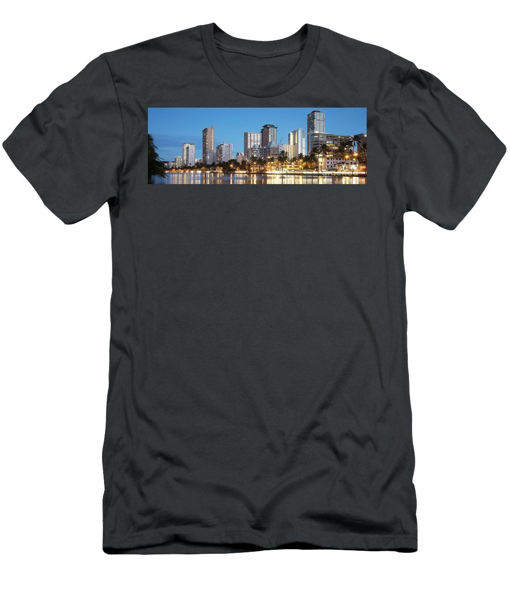 Hawaii Men's T-Shirt (Athletic Fit) featuring the photograph Honolulu Skyline Panorama by Bill Cobb