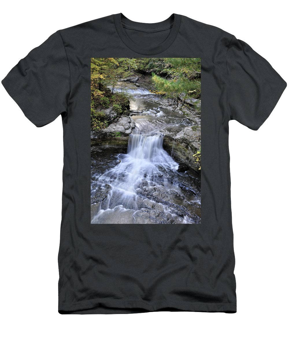 Water Men's T-Shirt (Athletic Fit) featuring the photograph Waterfall by David Arment